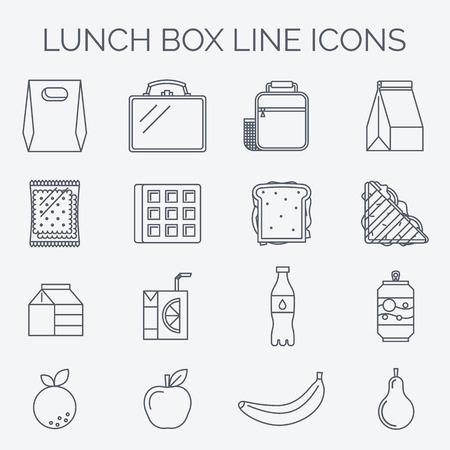 style linéaire Trendy. Icônes et emblèmes liés à l'heure du déjeuner, l'école et la nourriture de bureau. Vecteurs