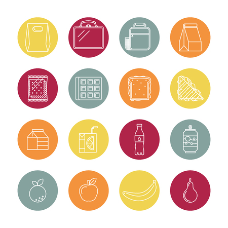 Trendy linear style. Icons and emblems related to lunch time, school and office food. Illustration