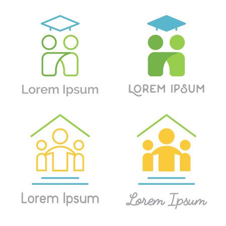 Kan gebruikt worden voor kinderen studio, studentenverenigingen, mentorschap programma's, familie center. Modern lineaire en platte versies. Stock Illustratie