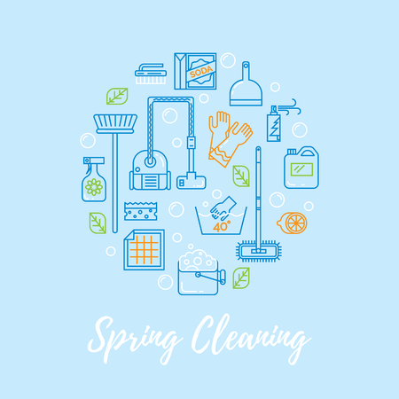 spring cleaning: Modern clean linear style.  Cleaning equipment and   appliance design elements For web, banners, blogs, poster.
