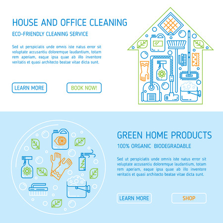 tidiness: Modern clean linear style. Green cleaning equipment and appliance design elements. For web, banners, blogs, poster, app.