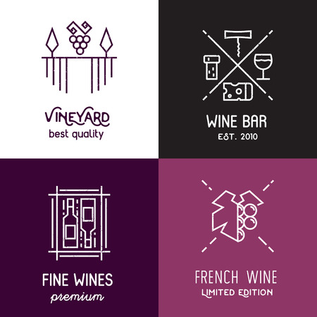 winetasting: Set of line emblems and elements for vineyard, winery, wine package, web.