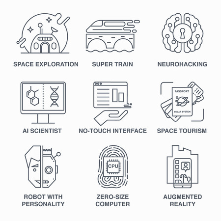 augmentation: Robot, high-peed train, space tourism, brain training and others. Main future trends. Illustration