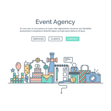 event planning: Catering service agency, marketing agency. Graphic event marketing concept, website elements. Outline colorful icons and  website elements.