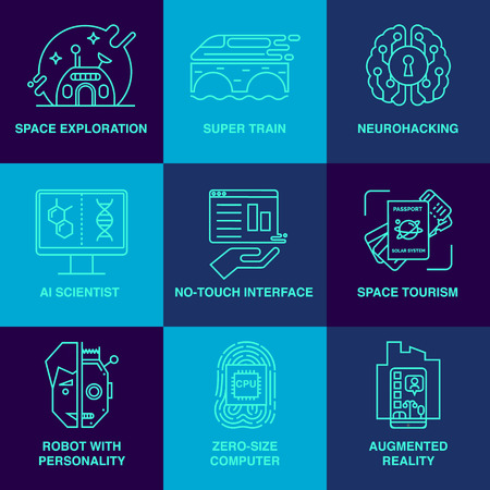augmentation: Robot, high-speed train, space tourism, brain training and others. Main future trends. Illustration