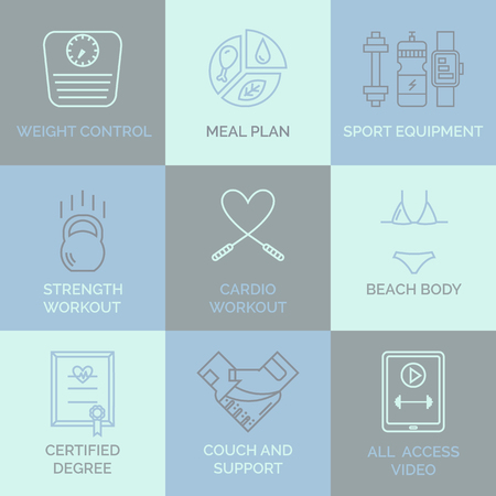 personal trainer: For web site, sport app, online workouts, gym. concept in modern outline style.
