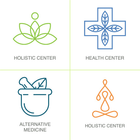 herbalist: Modern linear style. For holistic center, naturopathic medicine, homeopathy Illustration