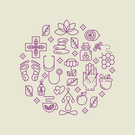 Modern lineaire stijl. Voor holistisch centrum, natuurgeneeskundige geneeskunde, homeopathie. Voor de website, print design, visitekaartje