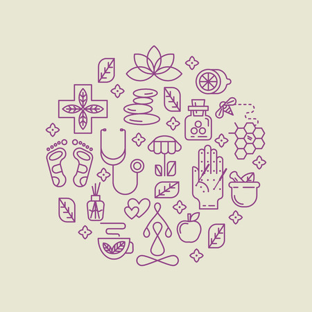 herbalist: Modern linear style. For holistic center, naturopathic medicine, homeopathy. For web site, print design, business card