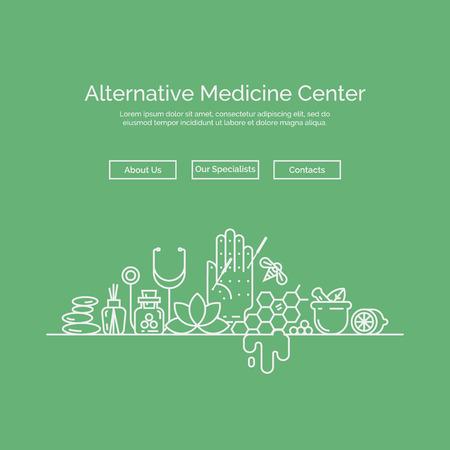 estilo lineal moderno. centro holístico, medicina natural, la homeopatía, la acupuntura. Para el sitio web, diseño de impresión, tarjeta de visita. Ilustración de vector