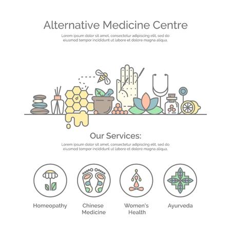 Modern lineaire stijl. Holistisch centrum, natuurgeneeskundige geneeskunde, homeopathie, acupunctuur, ayurveda, chinese geneeskunde, de gezondheid van de vrouw. Voor de website, print design, visitekaartje.