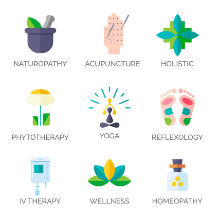 chinese medicine: Modern flat style. Holistic center, naturopathic medicine, homeopathy, acupuncture, ayurveda, chinese medicine, womans health. For web site, print design, business card.