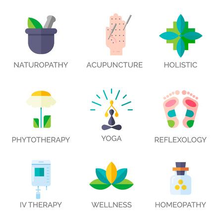 Moderne vlakke stijl. Holistisch centrum, natuurgeneeskundige geneeskunde, homeopathie, acupunctuur, ayurveda, chinese geneeskunde, de gezondheid van de vrouw. Voor de website, print design, visitekaartje. Vector Illustratie