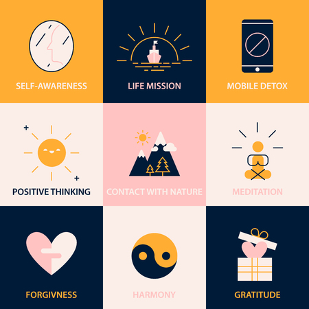recommendations: Key tips to simple and happy life. Recommendations for boosting happiness. Illustration