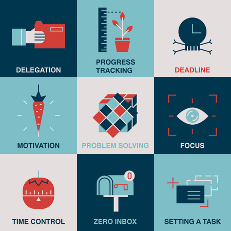 delegation: High productivity, success business workflow and time management symbols.
