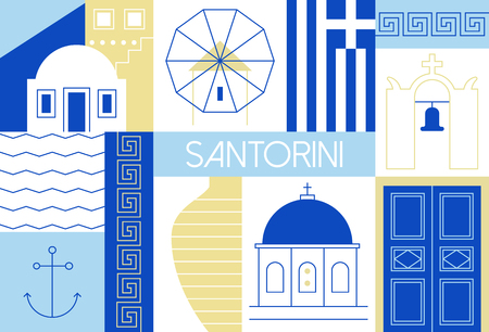 mediterranean homes: illustration with main landmarks and icons. For magazines, web, tourism. Travel to Greece template.