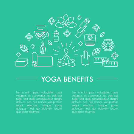 cons: Main yoga symbols and signs. Pros and cons of yoga classes. Healthy lifestyle illustration with place for your text.