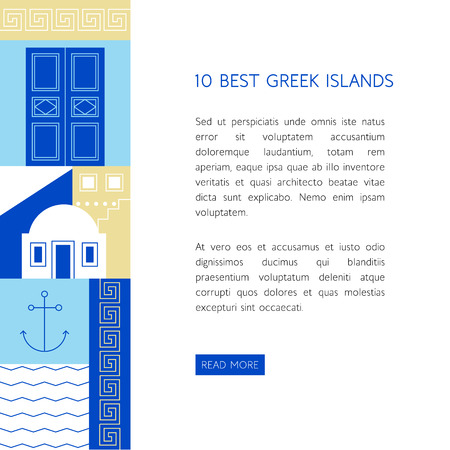 mediterranean homes: Different greek symbols and colors in flat style. Tourism banner template. Explore the world. Illustration