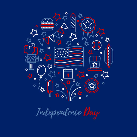 red white blue: A set of design elements and icons for design kit in traditional American colors - red, white, blue. Happy independence day card.