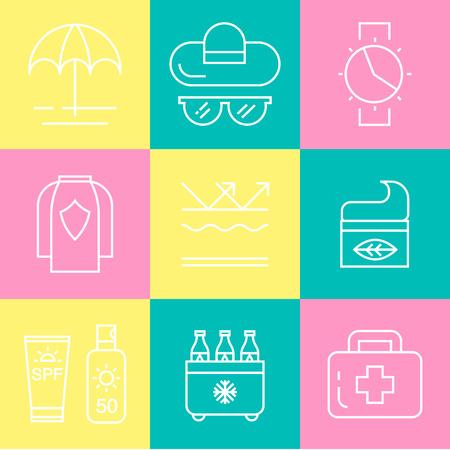 tun: Sun and beach safety set. For web, infograhics, print. Cancer skin protection Illustration