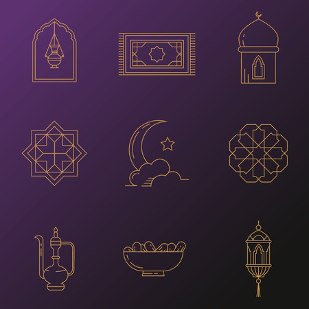iftar: Symbols for muslim community. Kadir Gecesi illustration in mono line style. For invitations, business, print. Illustration