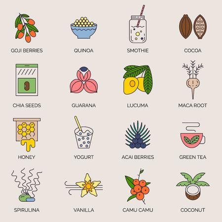 Acai, cocoa, goji, guarana, spirulina, coconut, quinoa, camu camu, maca, honey, vanilla, kelp. Organic superfoods for health and diet. Detox and weightloss supplements. Illustration