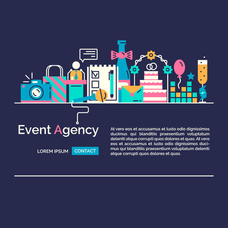 event icon: Catering service agency, marketing agency icons. Graphic concept of event marketing. Website elements.