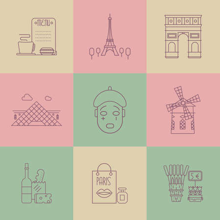 wine and cheese: Main Paris landmarks. Wine, cheese, lavender, arc, tower and others. Poster design or postcard illustration Illustration