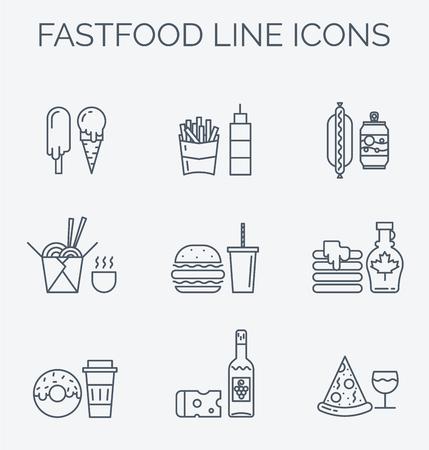 Verschillende soorten voedsel levering elementen en illustraties in trendy lineaire stijl. Voor cafe, web, print, business.