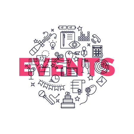 フラットなデザイン グラフィック イベント マーケティングの概念、ウェブサイトの要素。特別組織、ケータリング サービス、マーケティング代理  イラスト・ベクター素材