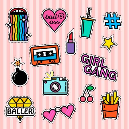 swag: Modern slogans. Rainbow effect. Girl gang. Milkshake and fries Illustration