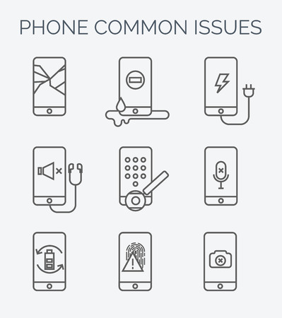 Broken mobile phone, tablet. Cracked screen. Repair electronic equipment. Electronic technology. Repair cellphone. Touch screen Vector Illustration