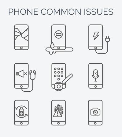 Gebroken mobiele telefoon, tablet. Gebroken scherm. Reparatie van elektronische apparatuur. Elektronische technologie. Mobiele telefoon repareren. Touch screen