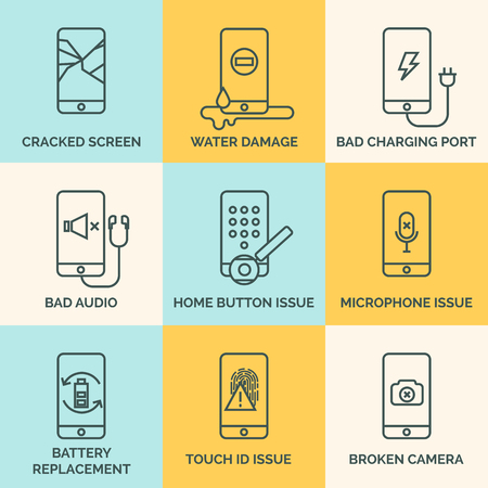 Broken mobile phone, tablet. Cracked screen. Repair electronic equipment. Electronic technology. Repair cellphone. Touch screen Illustration
