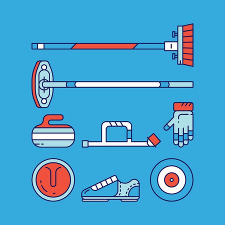 Curling sport hoofd iconen en symbolen.
