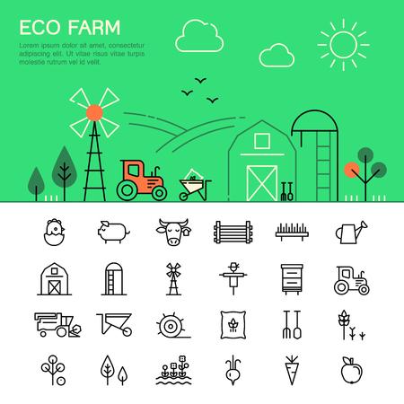 Landbouw en landbouw dunne lijn iconen.