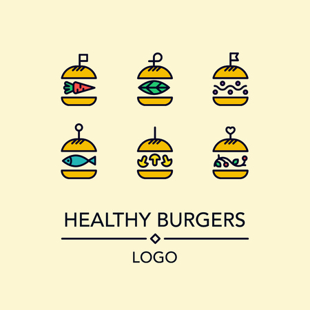 Burger logo in lineaire stijl.