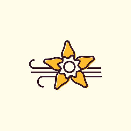 Vanilla Flower and Sticks lineair logo. Stock Illustratie