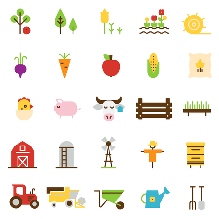 Farming and agriculture flat icons.
