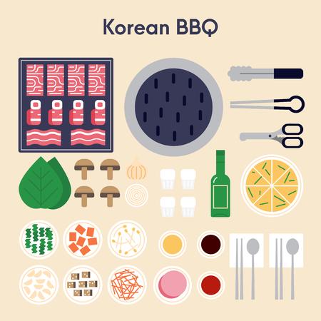 Koreaans BBQ flat design