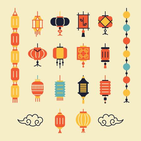Verschillende lantaarns voor decoratie, wenskaart, verpakking.