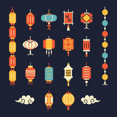 Set van chinese lantaarns.