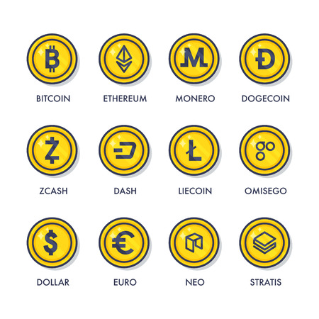 Set van munten van cryptocurrencies. Stock Illustratie