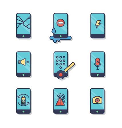 전화 공통 문제 선 아이콘. 스톡 콘텐츠 - 88482797