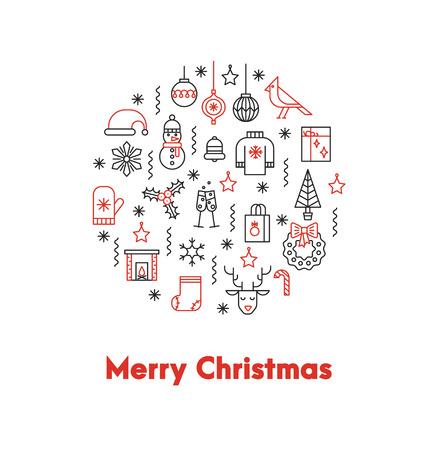 Groetkaart met dunne lijnpictogrammen ANS grote rode woorden Vrolijke Kerstmis.