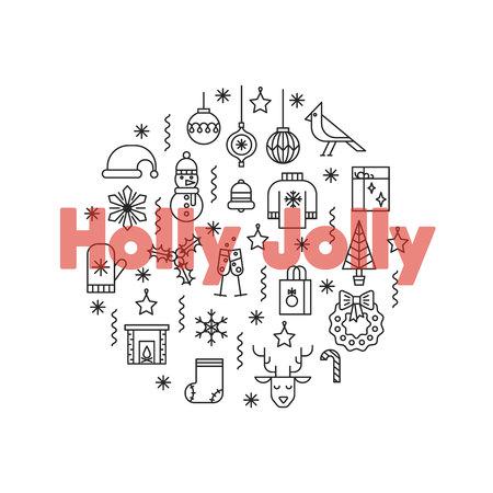 Wenskaart met dunne lijn iconen en grote rode woorden Holly Jolly. Stock Illustratie