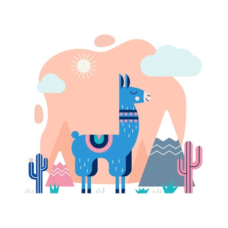 Lama card with mountains and cactus in vector.
