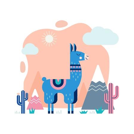 Lama tarjeta con montañas y cactus en el vector. Foto de archivo - 92669693