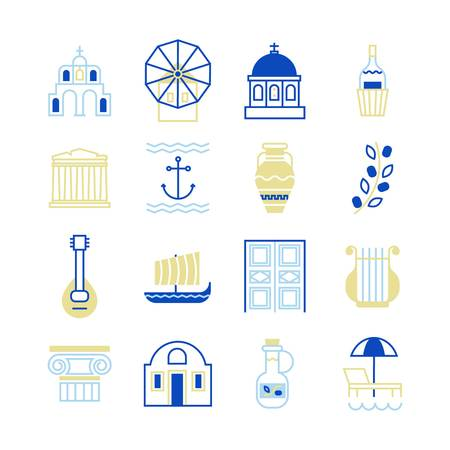Greece symbols in beautiful colors. For magazines, web, tourism. Travel to Greece elements. Vectores