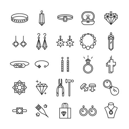 Jewelry shop symbols. Wedding ring, necklace jeweler earrings. Vettoriali